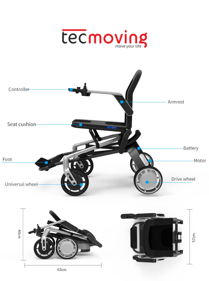 Dimensiones silla de ruedas eléctrica para interior Pocket Chair